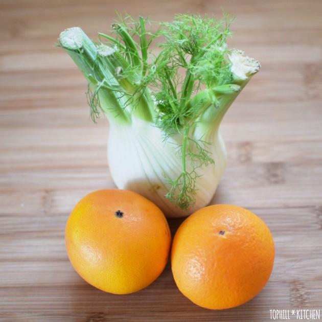 Fenchelknolle und zwei Orangen