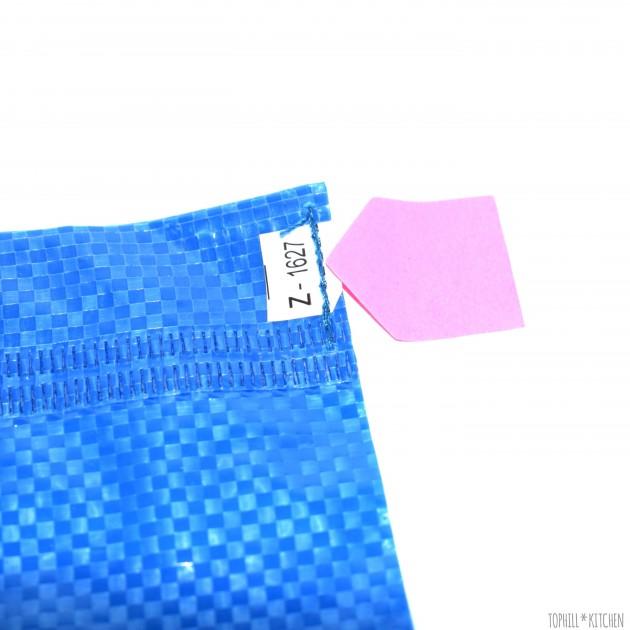 Neue Ikeatasche - kleine blaue Naht stehen lassen