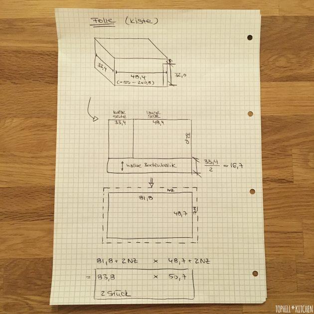Folie für selbstgemachte Pflanzkiste Skizze Folienmaße Kiste