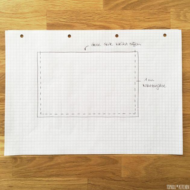 Folie für selbstgemachte Pflanzkiste Skizze Folienzuschnitt