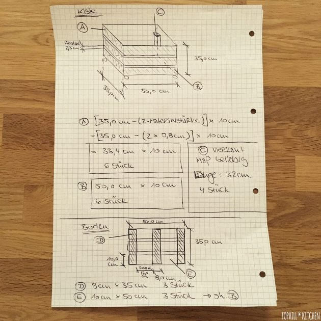 Skizze und Maße für Pflanzkiste selber machen