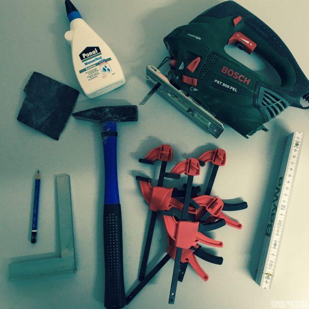 Übersicht benötigtes Werkzeug für selbstgemachte Pflanzkiste