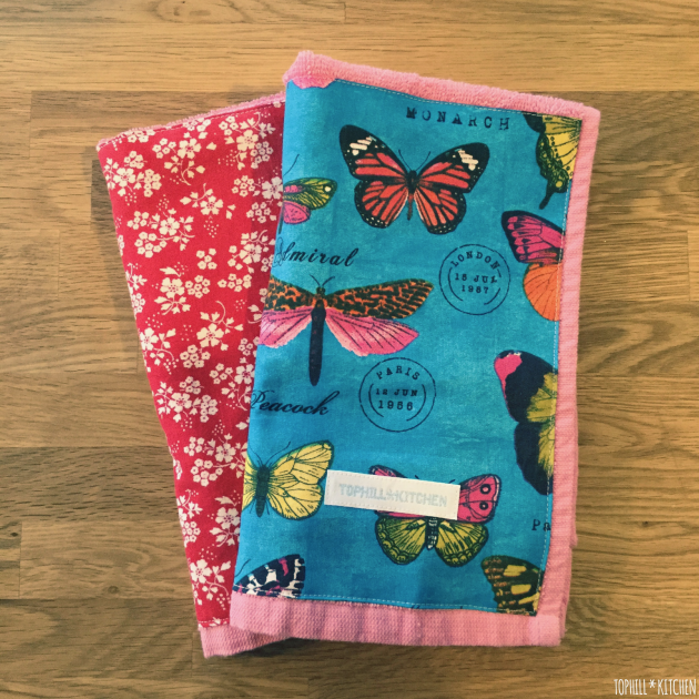 Benähte Handtücher in Pink.